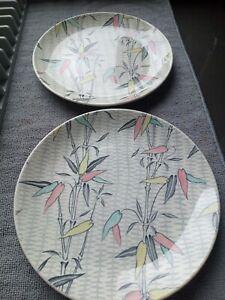Rare Vintage Pair of MYOTT Myott Mandalay Bamboo Design Ceramic Side Plates