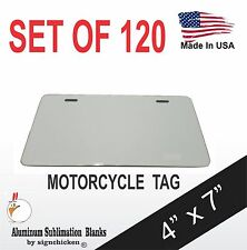 """120 Pieces ALUMINUM LICENSE PLATE SUBLIMATION BLANKS 4"""" x 7"""" MOTORCYCLE TAG"""