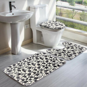3xStone Pattern Bath Pedestal Mat Set Non Slip Toilet Lid Cover Bathroom Rug CA