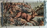 "Vintage Plush Velvet Rug Tapestry carpet Wall Hanging Elk RARE Large 42""X32"""
