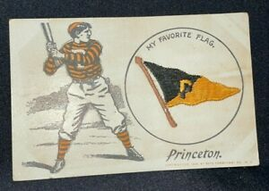 1908 Princeton University VTG Postcard MY FAVORITE FLAG Saxe Embroidery Baseball