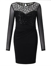 Lipsy Michelle Keegan Sequin Bodycon Dress 12 Black Long Sleeve Xmas Party