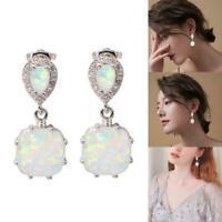 Fashion Women Silver FWhite Fire Opal Ear Earrings Wedding Jewelry High quality