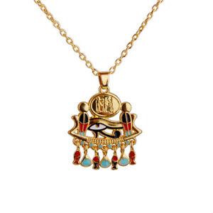 "Gold Egyptian Eye of Horus / Ra Amulet Pendant 18"" Chain Necklace Jewelry"