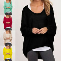 Women Casual Loose Blouse Jumper Pullover Ladies Long Sleeve Knitted Top Sweater