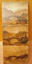 huile sur panneau tableau peinture lavis étude de pont calvaire painting