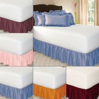 Elastic Soft Bed Skirt Solid Color Hollow Ruffle Bed Cover Twin Full Queen King