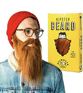 Brown Ginger Hipster Beard - Adult costume beard for stag party fancy dress