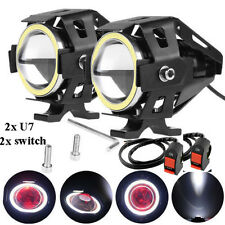 White Ring U7 Motorcycle LED Spotlight Fog Lamp with 2x switch For Honda Twister