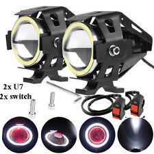 White Ring U7 Motorcycle LED Spotlight Fog Lamp with 2x switch For YAMAHA Fazer