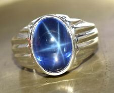Star Blue Sapphire Natural  10.67 Ct. 925 Sterling Silver Ring Valentine's Gift