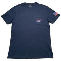Vineyard Vines Men's Size XS Pocket T Shhirt Whale Usa Flag Navy Blue