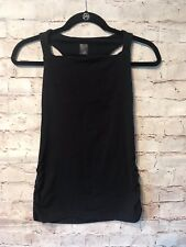 Lucy Black Racerback Tank sz XS workout gym yoga ruched sides Basic Activewear
