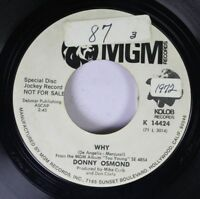 Pop Promo 45 Donny Osmond - Why / Lonely Boy On Mgm Records