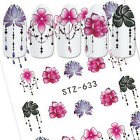 5Sheets DIY 3D Nail Art Transfer Sticker Flower Decals Manicure Decoration Tips