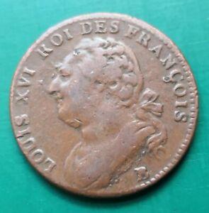 1791 B France Louis 16th, 12 Deniers copper coin #248