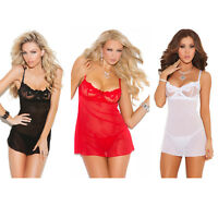 Sheer Mesh Babydoll Embroidered Underwire Cups G-String Lingerie Set 4864