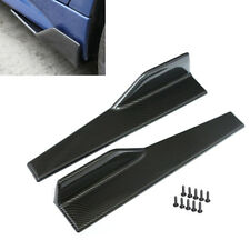 2Pcs PP Carbon Fiber Car Side Skirt Spoiler Rocker Splitters Anti-scratch Wings