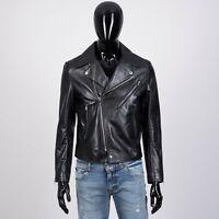 CELINE HOMME 4950$ Biker Jacket With Padded Shoulders In Black Calfskin