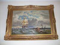 William Gibbons (fl. 1858 - 1892).  'Naval Frigates off the Coastline'.  Oil.