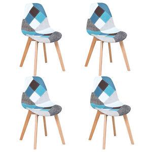 Pack 4 Sillas de comedor silla diseño nórdico piernas de madera Patchwork Azul