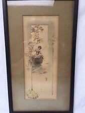 Vintage H.A. Weiss Art Nouveau Lithograph Hand Colored Print Signed