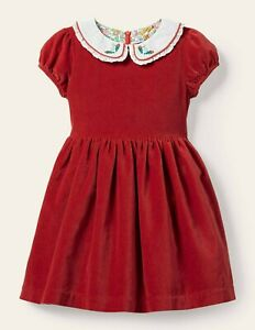Mini Boden Red Velvet Holiday Party Dress Peter Pan Collar NWT New 8-9