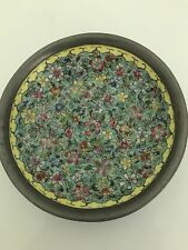 Vintage Japanese Porcelain Ware Bowl Decorated in Hong Kong ISCO Pewter Floral