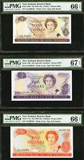 New Zealand 1981-85 MATCHING 1st Prefix LOW Ser $1 $2 $5 GEM UNC PMG 66 & 67 EPQ