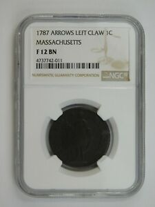 1787 Arrows Left Claw Colonial Massachusetts Cent NGC Graded F 12 BN (159)