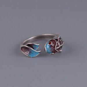 925 Sterling Silver Blue Enamel Koi Carp Adjustable Wrap Ring Statement Fish