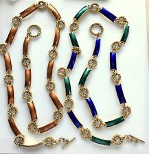 Classic Vintage Gucci Enamel Link Belts - Blue/Green and Amber