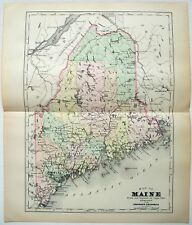 Original 1896 Copper-Plate Map of Maine by A. J. Johnson