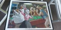 Scratched At Dawn/ Dogs Playing Pool Framed Print By Arthur Sarnoff