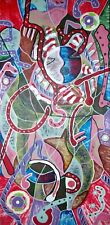 """HANDMADE ORIGINAL HAITIAN ART OIL PAINTING BY EDOUARD MARCELIN """"ABSTRACT"""" HAITI"""