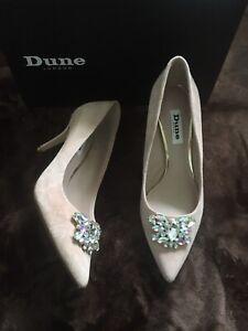 Dune Beige Suede Shoes Belles Blush Suede Diamonte Jewel Trim Mid Heel Sz 4 37