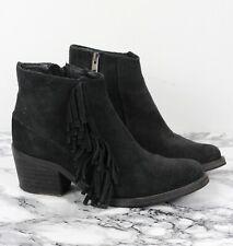 ALL SAINTS BONNY Black Suede Cuban Fringe Ankle Boots, Size UK 4 / EU 37