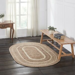 VHC Natural Creme Country Farmhouse Cottage Oval Braided Rug W/Pad