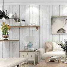 Rustic Wood Panel Wallpaper White Striped Distressed Wood Plank Wallpaper 10M