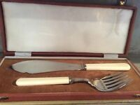 antique silver plated e.p.n.s chased large fish knife and fork serving set