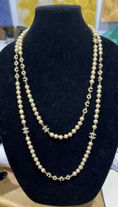 VINTAGE AUTHENTIC CHANEL Pearl Station Necklace w/ Coco Logo