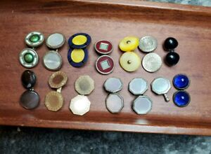 Huge Antique Vintage Cufflinks lot Chaines Glass Mother of Pearl Silver blue