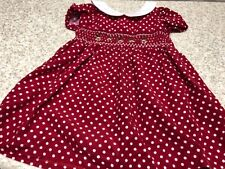 Mia Juliana Girl's Red Smocked Reinfeer Holiday Christmas Polka Dot Dress 18 mon