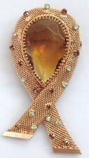 grandes broche antiguo color oro piedra tallado en pera decoración cristales 253