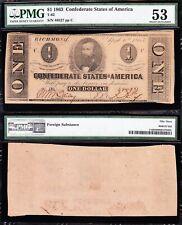 Amazing HIGH GRADE 1863 T-62 $1 CSA Confederate Note! PMG 53! FREE SHIP! 48527