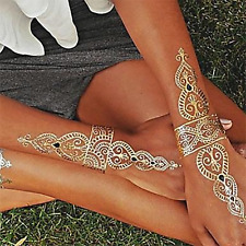 Waterproof Metallic Gold leaf festival Indian Arm back Body art jewelry tattoo