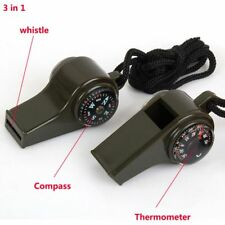 3 In 1 Portable Randonnée Survie Boussole Sifflet Thermomètre Urgence