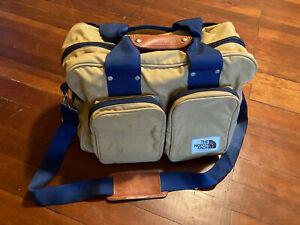 The North Face Vintage Canvas Duffle Bag, w/ Shoulder Strap, Tan & Navy
