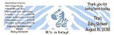 Baby Shower Water Bottle Labels Zebra Boy Gloss Waterproof 30 Qty.
