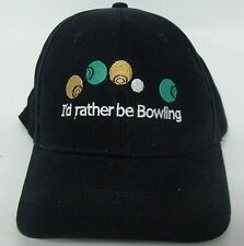 I'd Rather Be Bowling  Embroidered Cotton Cap Lawn Bowls gift idea fun on green